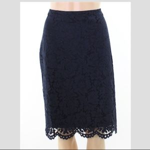 Lauren Ralph Lauren Floral-Lace Pencil Skirt Navy